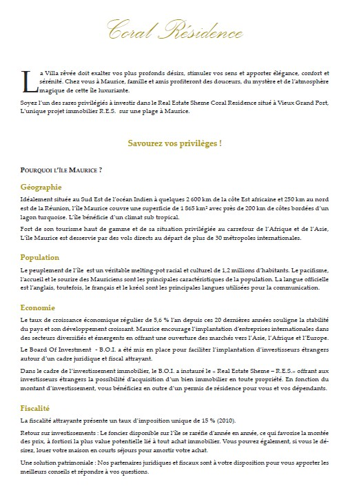 Projet IRS / RES ile Maurice